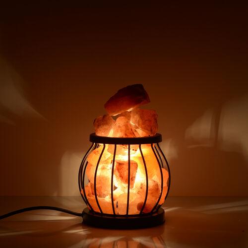 Natural Pink Himalayan Rock Salt Basket Lamp - With 1.6KG Salt Bag - Drum