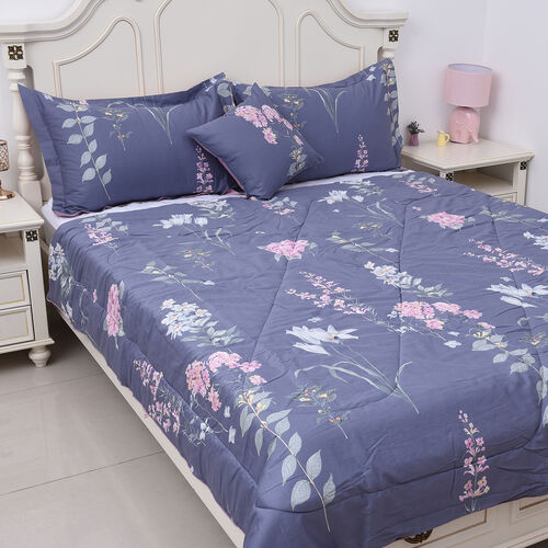 4 Piece Set - Floral Pattern 100% Mulberry Silk Filled Quilt with 100% Cotton Cover, 2 Pillow Cases