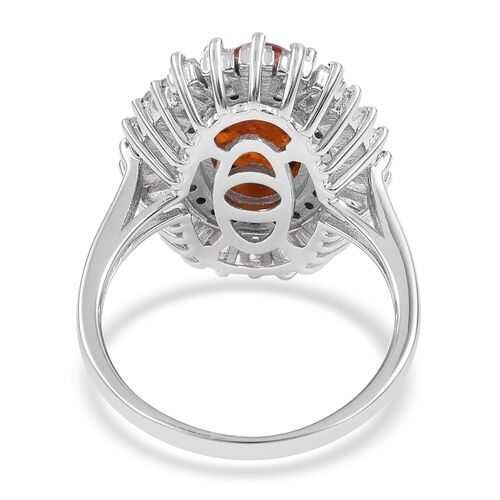 Baltic Amber (Ovl 1.25 Ct), White Topaz Ring in Rhodium Plated Sterling Silver 2.820 Ct. Silver wt 5.00 Gms.