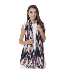 Designer Inspired- White, Black and Multi Colour Triangular Form Pattern Shawl with Tassels (Size 180x88 Cm)