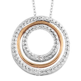 Designer Inspired- Diamond (Rnd) Concentric Circle Pendant With Chain (Size 18) in Platinum Overlay