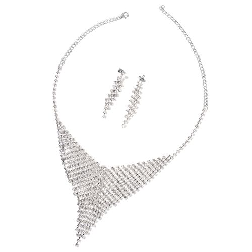 White Austrian Crystal Chandelier Necklace (Size 16 with 6 Inch Extender) and Earrings (with Push Back) in Silver Tone