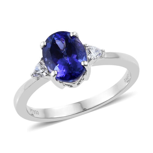 RHAPSODY 950 Platinum AAAA Tanzanite (Ovl 2.55 Ct), Diamond (VS/E-F) Ring  2.750 Ct, Platinum wt 5.2