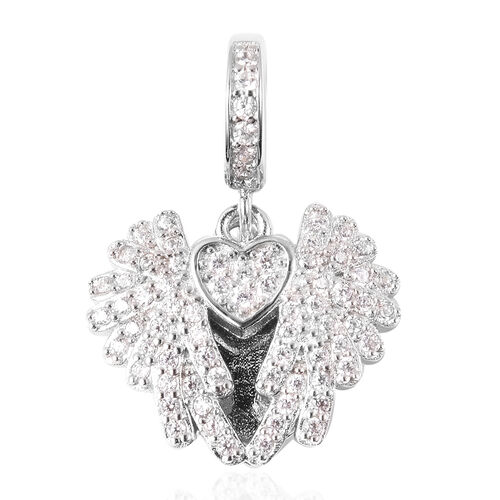 Charmes De Memoire - Simulated Diamond Heart with Angel Wings Charm in Rhodium Overlay Sterling Silv
