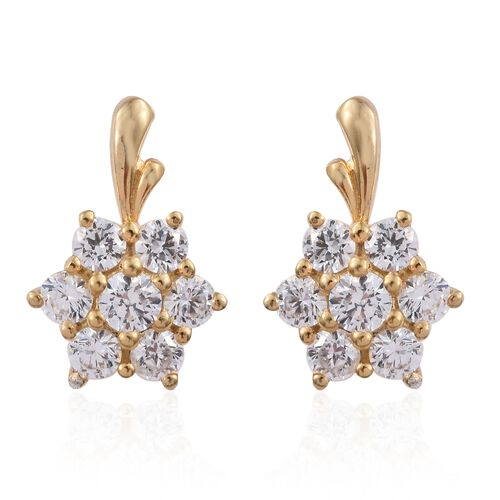 J Francis - 14K Gold Overlay Sterling Silver (Rnd) Floral Earrings (with Push Back) Made with SWAROVSKI ZIRCONIA