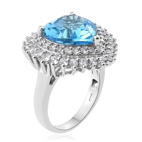 TJC Launch - Marambaia Topaz (Hrt 11.00 Ct), Natural Cambodian Zircon Ring in Platinum Overlay Sterling Silver 13.500 Ct. Silver wt 7.30 Gms.
