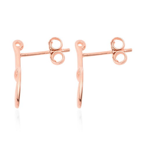 Rose Gold Overlay Sterling Silver Snaffle Bit Earrings (with Push Back)