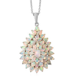 Ethiopian Welo Opal (Pear) Pendant With Chain in Platinum Overlay Sterling Silver 4.500 Ct, Silver wt 6.9 Gms.