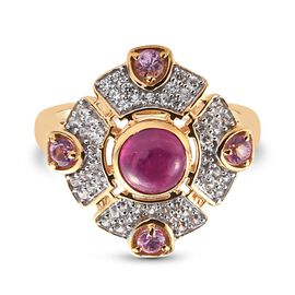 African Ruby (FF), Pink Sapphire and Natural Cambodian Zircon Ring in 14K Gold Overlay Sterling Silv