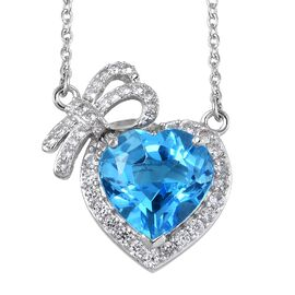 8 Carat Electric Swiss Blue Topaz and Zircon Heart Necklace in Platinum Plated Silver 18 Inch