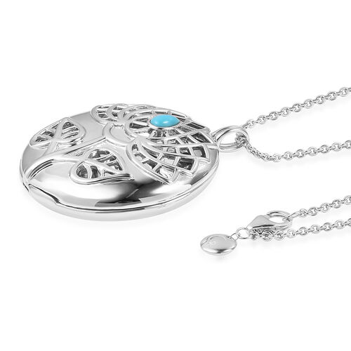 RACHEL GALLEY Arizona Sleeping Beauty Turquoise (Pear) Tree of Life Pendant with Chain (Size 30) in Rhodium Overlay Sterling Silver 0.349 Ct, Silver wt 30.00 Gms