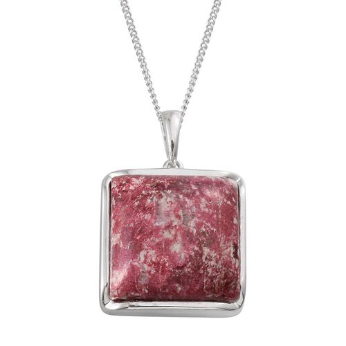 Norwegian Thulite (Sqr) Pendant With Chain in Platinum Overlay Sterling Silver 25.000 Ct.