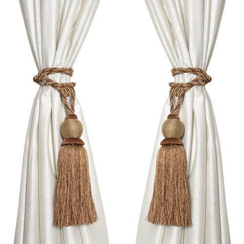 Pair of Dark and Light Brown Colour Tassel Curtain Tiebacks (Size 66 to 68.5 Cm)