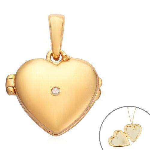 Diamond Open Heart Locket Pendant in 14K Gold Overlay Sterling Silver 0.02 Ct.