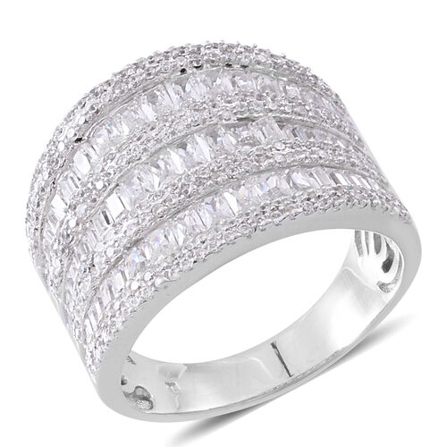ELANZA Simulated White Diamond (Bgt) Ring in Rhodium Plated Sterling Silver. Silver wt. 8.90 Gms.