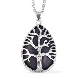 Blue Sandstone (Pear 33x25 mm) Tree of Life Pendant With Chain (Size 24) in Stainless Steel 35.0 Ct.