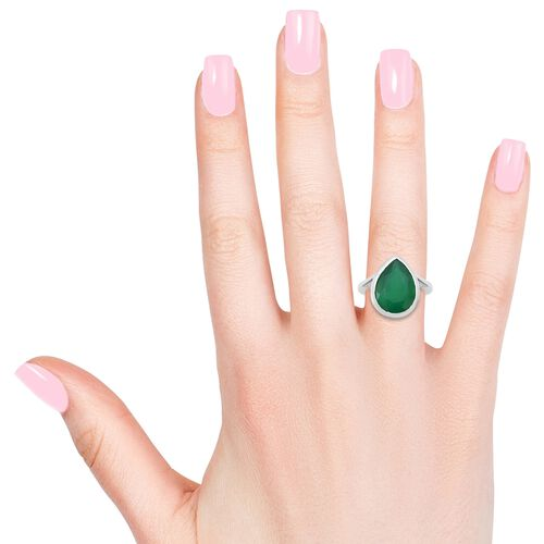 Verde Onyx (Pear 14x10 MM) Solitaire Ring in Sterling Silver 4.500 Ct.