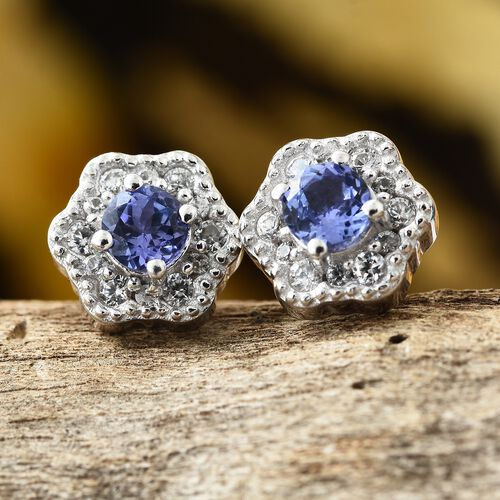 Tanzanite (Rnd), Natural Cambodian Zircon Stud Earrings (with Push Back) in Platinum Overlay Sterling Silver 1.250 Ct.