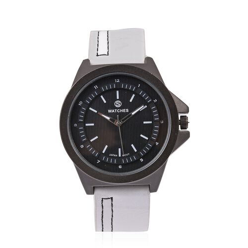 STRADA Japanese Movement Water Resistant Watch with Black Literal and White Colour Strap.