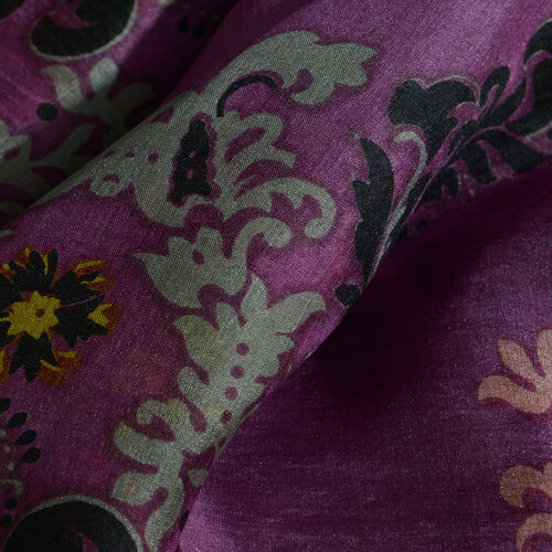 100% Mulberry Silk Purple, Yellow, Orange and Multi Colour Floral Pattern Scarf (Size 180x100 Cm)