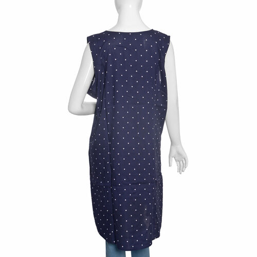 New for Summer - Navy Blue Polka Dots Straight Dress (Size Free)