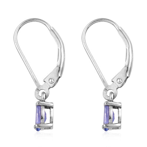 Tanzanite (Ovl) Lever Back Earrings in Platinum Overlay Sterling Silver 0.750  Ct.