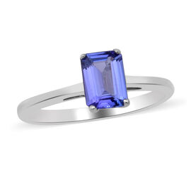 AAA Tanzanite (Oct 7X5 mm)  Solitaire Ring in Rhodium Overlay Sterling Silver 1.00 Ct.