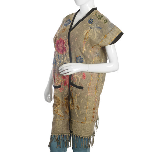 Hand Embroidered Adda Work-Floral Pattern Beige and Multi Colour Lily Jacket (Size 90x65 Cm)