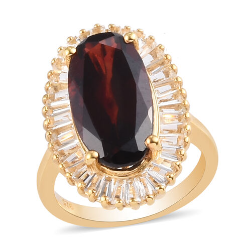 Mozambique Garnet and White Topaz Halo Ring in 14K Gold Overlay Sterling Silver 10.00 Ct.