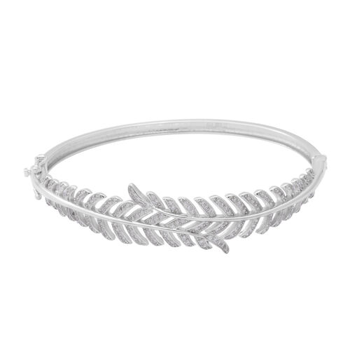 ELANZA Simulated Diamond Leaf Bypass Bangle in Rhodium Plated Sterling Silver 20.40 Grams 7.5 Inch