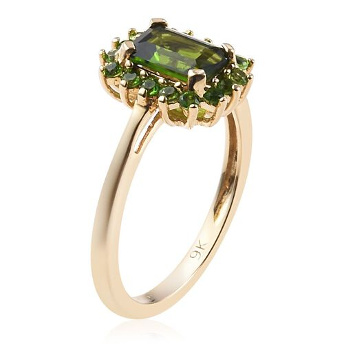 9K Yellow Gold AAA Russian Diopside Ring 1.25 Ct.