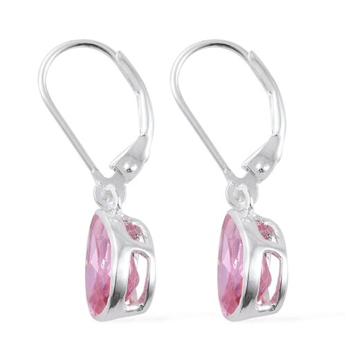 ELANZA AAA Simulated Pink Sapphire (Pear) Lever Back Earrings in Sterling Silver