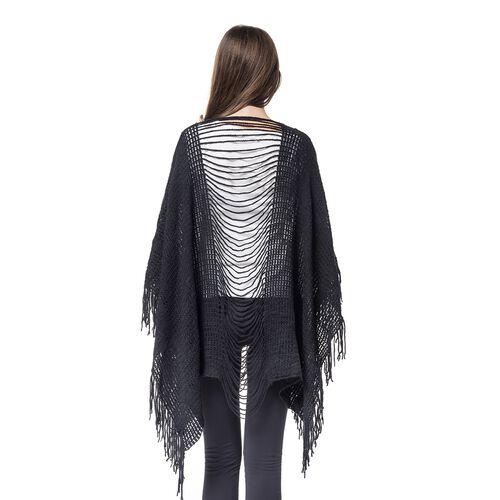 Designer Inspired - Black Colour Poncho (Free Size)
