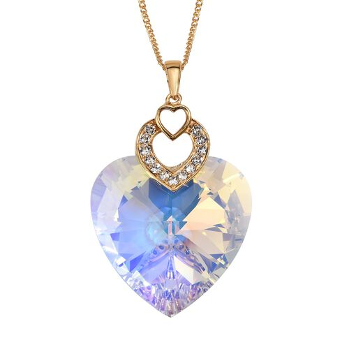 J Francis Multi Crystal from Swarovski Heart Pendant in Gold Plated Silver 8 Grams 30 Inch