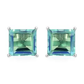 Peacock Quartz (Sqr) Stud Earrings (with Push Back) in Platinum Overlay Sterling Silver 10.0 Ct.