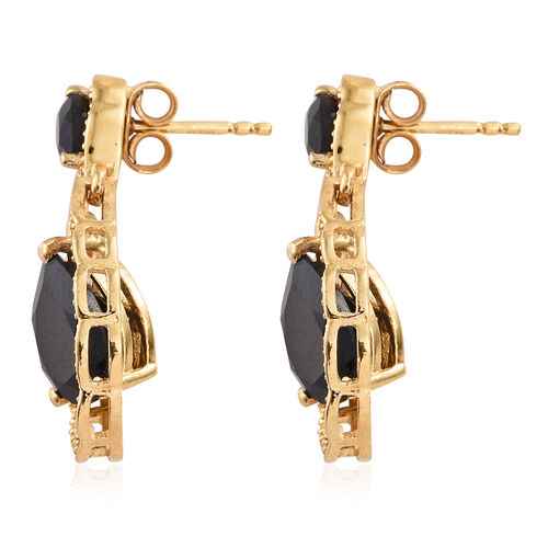 Boi Ploi Black Spinel (Pear) Tear Drop Earrings (with Push Back) in 14K Gold Overlay Sterling Silver 6.000 Ct.