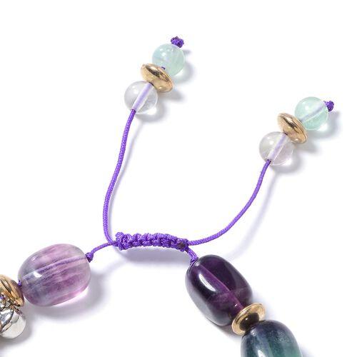 Fluorite and Multi Colour Gemstone Beads Bracelet (Size 6.5- 9)  280.000  Ct.