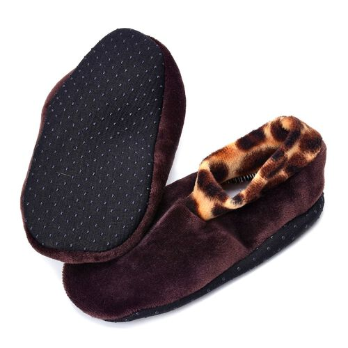 New Season-Set of 3 -  Black and Brown Dotted Print 100% Polyester Fleece Sherpa Set Bootie Socks (Size one for all)