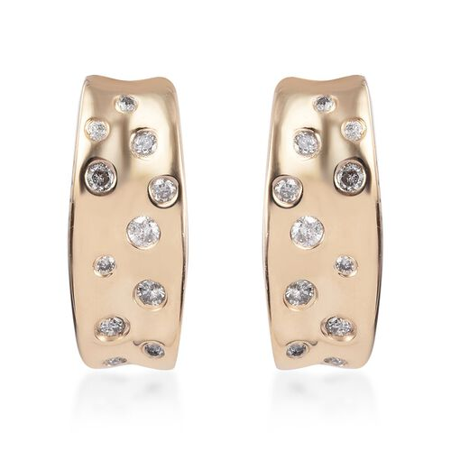 GP - 9K Yellow Gold SGL Certified Diamond (I3/G-H) and Blue Sapphire Earrings (with Push Back) Gold