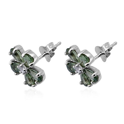 Green Sapphire and Natural Cambodian Zircon Floral Stud Earrings (with Push Back) in  Rhodium Overlay Sterling Silver 2.80 Ct.
