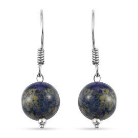 Sodalite Hook Earrings in Platinum Overlay Sterling Silver 15.800  Ct.