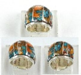 Santa Fe Collection - Spiny Turquoise Ring in Rhodium Overlay Sterling Silver 10.50 Ct.