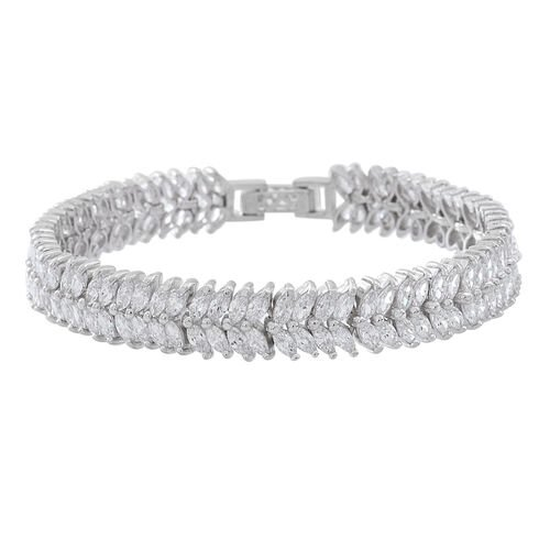 ELANZA Simulated White Diamond (Mrq) Double Strand Bracelet (Size 8) in Rhodium Plated Sterling Silver. Silver Wt 17.00 Gms and 152  number of Stones.