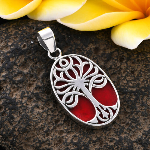 Sponge Coral (Ovl) Tree of Life Pendant in Sterling Silver