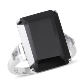 20.47 Ct Boi Ploi Black Spinel and White Topaz Ring in Rhodium Plated Sterling Silver
