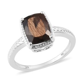 2 Carat Chocolate Sapphire Solitaire Ring in Sterling Silver
