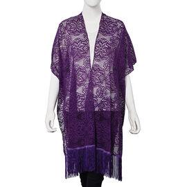 Purple Colour Floral Lace Kimono with Long Tassels (Size 90x80+14 Cm)