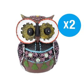 Set of 2 - Decorative Lovely Colourful Owl (Size 8x6x11.5cm) - White and Multi