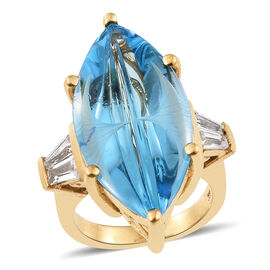 TJC Launch - Marambaia Topaz (Mrq), Natural Cambodian Zircon Ring (Size R) in 14K Gold Overlay Sterling Silve
