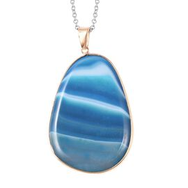 130 Carat Blue Agate Solitaire Pendant with Chain in Gold Tone